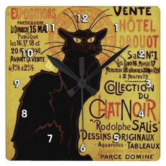 Vintage Chat Noir, Vente Hôtel Drouot Steinlen Square Wall Clock