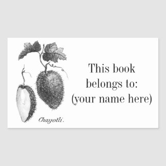 Vintage chayote etching bookplate rectangular sticker