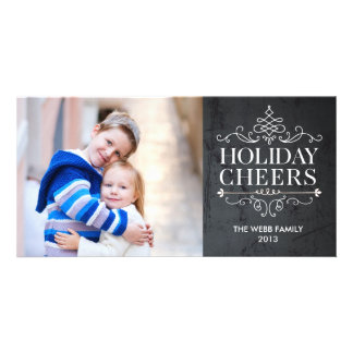 Vintage Cheers 1 Photo Holiday Photo Card