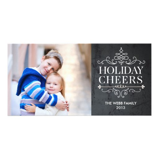 Vintage Cheers 1 Photo Holiday Photo Card Photo Cards