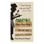 Vintage chef silhouette herbs cooking biz cards business card template