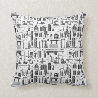 Vintage Chemical Apparatus Illustrations Throw Pillows