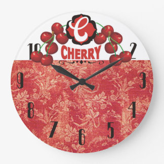 vintage cherries fruit kitchen clock