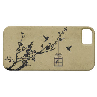 Vintage cherry blossom branch and birds silhouette iPhone 5 cover