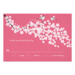 Vintage Cherry Blossom Chickadee Wedding RSVP Personalised Invitation