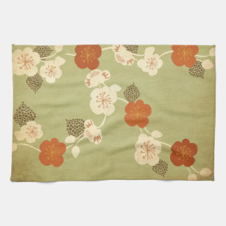 Vintage cherry blossom flowers American MoJo Kitch Tea Towel