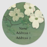 Vintage Cherry Blossom Green Stickers
