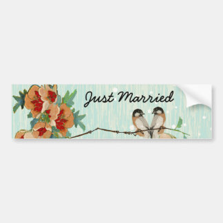 Vintage Cherry Blossom Love Bird Peach Mint Bumper Sticker