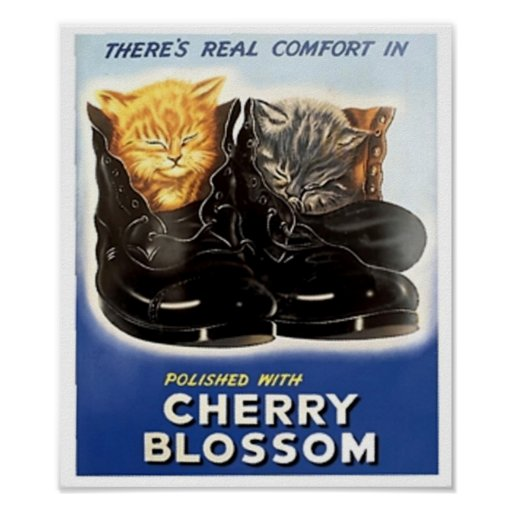 Vintage Cherry Blossom Polish Ad -Kittens in Shoes Poster