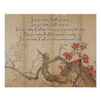 Vintage Cherry Blossom Watercolor Reiki Principles Poster