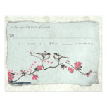 Vintage Cherry Blossoms & Chickadee Damask  RSVP