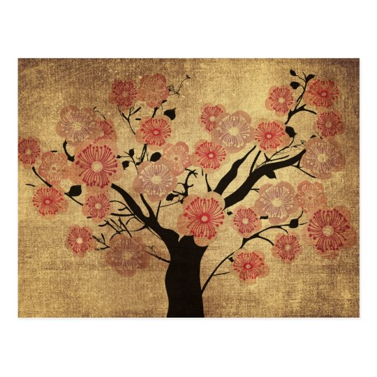 Vintage cherry tree Postcard