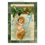 Vintage cherub angel christmas holiday card