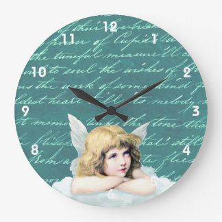 Vintage cherub angel on a cloud large clock