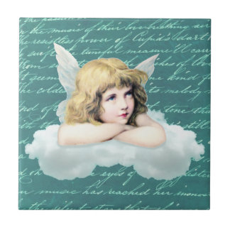 Vintage cherub angel on a cloud small square tile