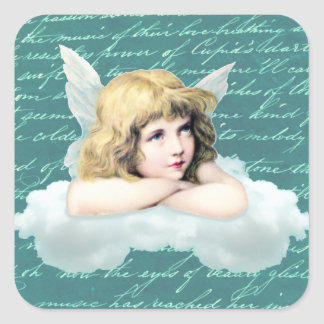 Vintage cherub angel on a cloud square sticker