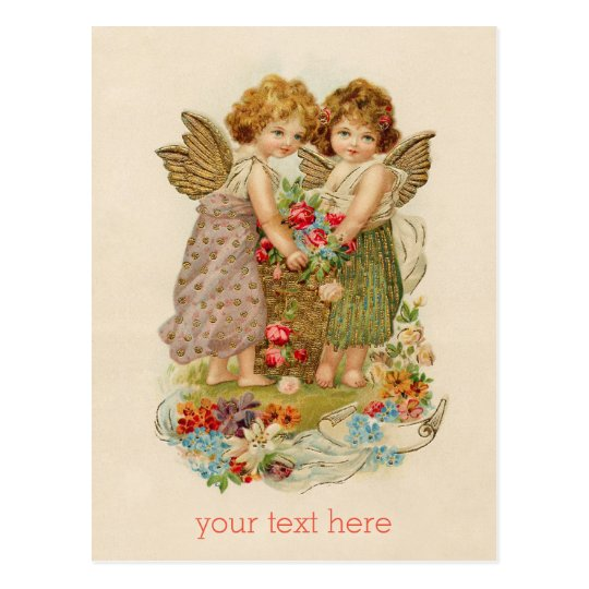 Vintage cherub valentine postcard + custom text