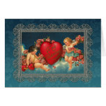 Vintage Cherubs and Valentine Heart Note Card