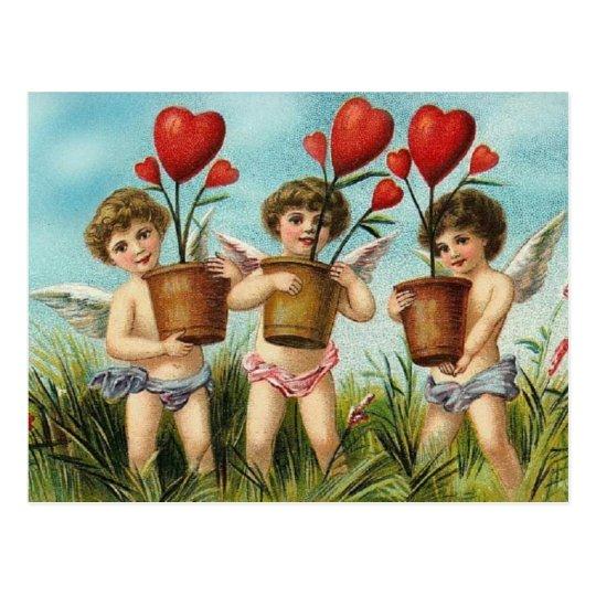 Vintage Cherubs & Heart Flowers Valentine Postcard