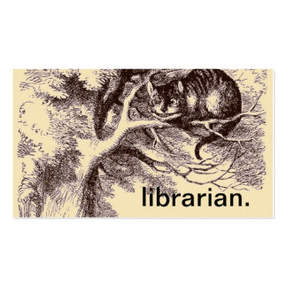 Vintage Cheshire Cat Alice in Wonderland Librarian Pack Of Standard Business Cards