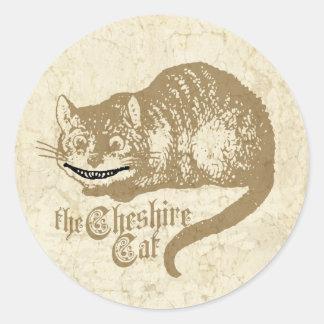 Vintage Cheshire Cat Illustration Classic Round Sticker