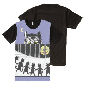 Vintage Cheshire Cats Moon Dance Art T-Shirt All-Over Print T-Shirt