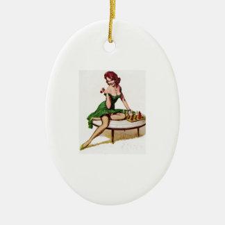 Vintage Chess Pin Up Girl Christmas Ornament