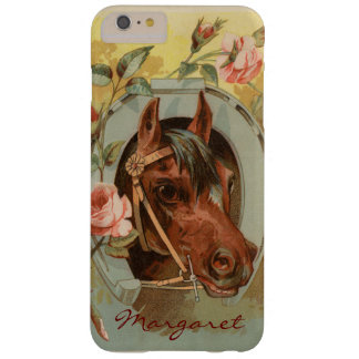 Vintage Chestnut Horse Personalized Barely There iPhone 6 Plus Case