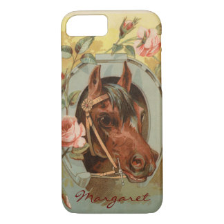 Vintage Chestnut Horse Personalized iPhone 8/7 Case