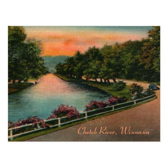 Vintage Chetek River Wisconsin Postcard