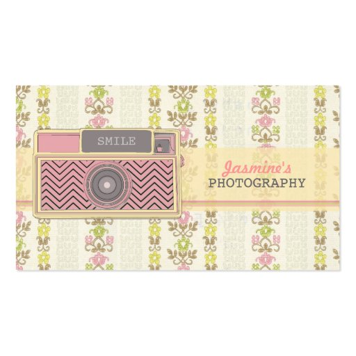 Vintage Chevron Camera Photography Business Cards