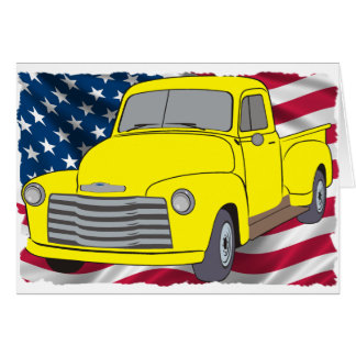 Vintage Chevy Truck with American Flag Greeting Cards