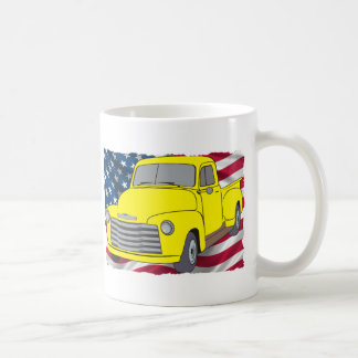 Vintage Chevy Truck with American Flag Coffee Mug