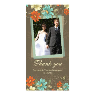 Vintage chic aqua orange cream wedding thank you custom photo card