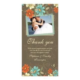 Vintage chic aqua orange cream wedding thank you photo card