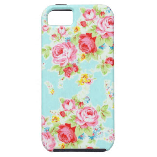 Vintage chic floral roses blue rose flowers shabby tough iPhone 5 case