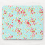 Vintage chic floral roses blue rose shabby flowers mouse pad
