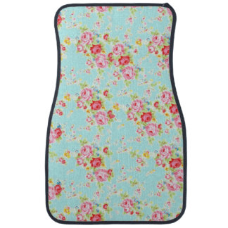 Vintage chic floral roses blue shabby rose flowers car mat