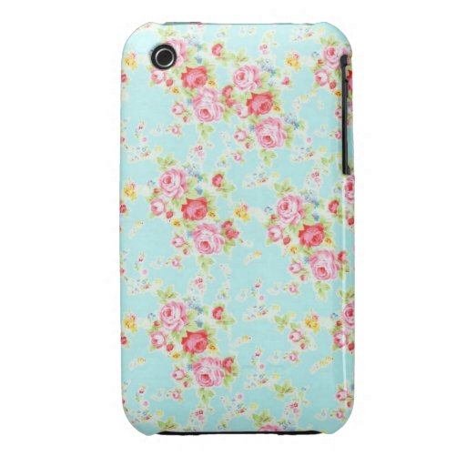 Vintage chic floral roses blue shabby rose flowers Case-Mate iPhone 3 cases