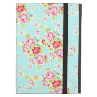 Vintage chic floral roses blue shabby rose flowers iPad air cover
