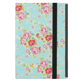 Vintage chic floral roses blue shabby rose flowers iPad mini cases