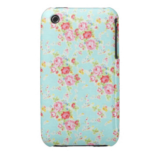 Vintage chic floral roses blue shabby rose flowers iPhone 3 cases