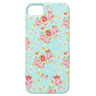 Vintage chic floral roses blue shabby rose flowers iPhone 5 cases