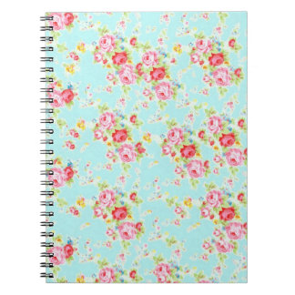 Vintage chic floral roses blue shabby rose flowers spiral note books