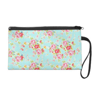 Vintage chic floral roses blue shabby rose flowers wristlet purses