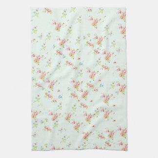 Vintage chic floral roses pink shabby rose flowers kitchen towel