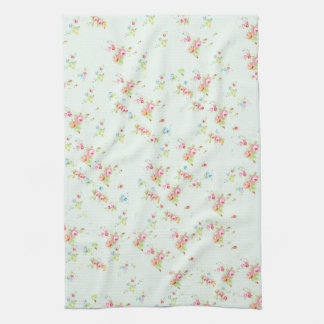 Vintage chic floral roses pink shabby rose flowers tea towel