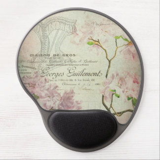 Vintage Chic French Script Shabby Flowers Corset Gel Mousepads