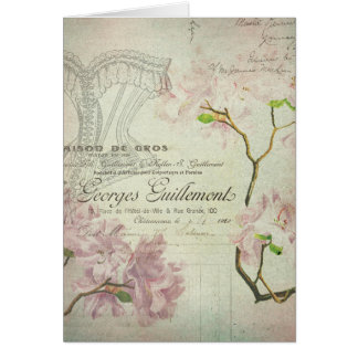 Vintage Chic French Script Shabby Flowers Corset Greeting Card