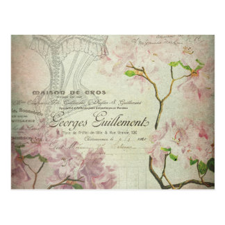 Vintage Chic French Script Shabby Flowers Corset Postcard